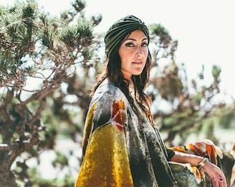 Gypsy Eyes 'Carolina' VELVET TURBAN in OLIVE