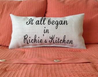 Engagement Pillow, Wedding Gift, Wedding Pillow, It All Began Pillow, Burlap Pillow, Valentines Gift, Anniversary Gift