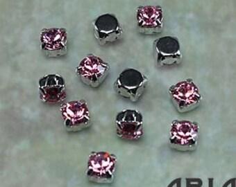 LIGHT ROSE: Swarovski SS29 6.5mm 17704 Xilion Rhodium Plated Two Hole Sew-On Slider Bead Component (12)