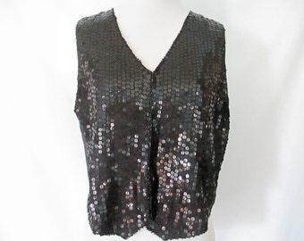 Sequin Vest 90's Sequin Top Black Sequined Vest Silk Lined Sparkly Shirt Vintage Glam
