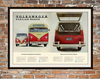 Volkswagen Bus, VW Station Wagon Rendition of Advertisement Print Vintage Advertising - Vintage Volkswagen - Drawing Print Art Item 0118