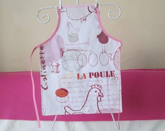 Child's oilcloth apron: 6/8 years hen