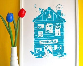 The Dog House A2 Screen Print, Dog Screenprint Poster, Dog Print, German Shepherd Print, Pug Print, Dog Illustration, Teal Dog Art, Fun Dogs