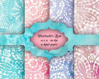WATERCOLOR Lace Digital Paper Pack - Watercolor lace doily pattern backgrounds for scrapbooking, wedding invitations - 16 papers