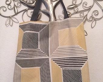 Shopping bag canvas tote yellow gray cotton market yoga