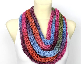 Rainbow Knit Scarf Necklace Chunky Knit Scarf Chain Scarf Knit Infinity Scarf Women Scarves with Button Mothers Day Gift from daughter