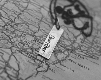 sterling silver rectangle hand stamped tag (your choice of city, special location - made to order) - necklace