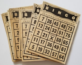 Vintage Bingo Cards, vintage bingo, vintage ephemera, junk journal, junk journal supplies, vintage supplies, junk journal ephemera, kits