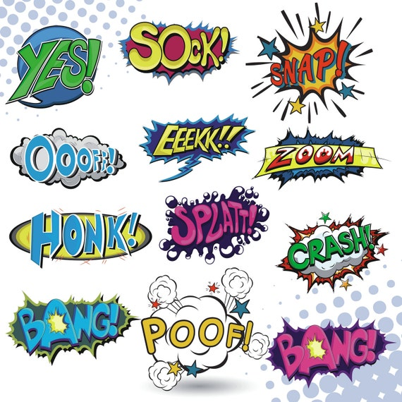 superhero clipart comic book clipart superhero clip art rh etsy com comic book clipart black and white comic book clipart black and white