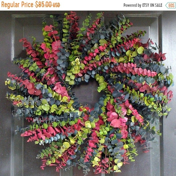 SUMMER WREATH SALE Eucalyptus Wreath, Preserved Dried Floral Wreath, Choose your Color Combination, Wall Decor