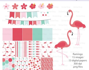 Flamingo Paper Pack and Digital Clipart - Instant download PNG files