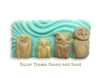 Owl Family Hand-sculpted Soap || Great Horned Owl, Barn Owl, Boreal Owl, Spotted Owl || Unique Gift For Owl-Lovers || Essential Oil Scented