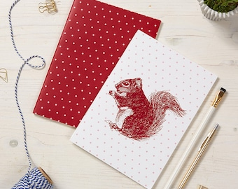 2 pack Red Squirrel Notebooks / Polka Dot Notepads