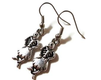 Skeleton Charm Earrings, Antique Silver Skeleton Earrings, Skull Earrings, Halloween Earrings, Metal Dangle Earrings, Teen Jewelry