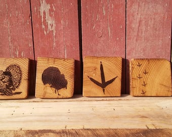 Barnwood TURKEY Coasters (set of 4)