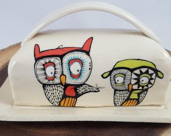 Owl butterdish, ceramic hand painted butterdish, handmade ceramic butterdish, butterdish