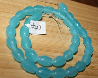 "16"" Strand of 10 X 6mm Faceted Barrel ***Dyed Blue Opalite Beads #123"