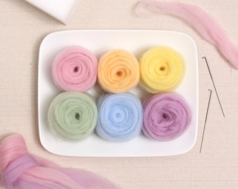 Wool Roving  // Pastel Colors // Corriedale Roving, Needle Felting, Wet Felting, Easter Crafts, Wool Sliver, Spring, Weaving, Cotton Candy