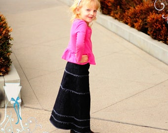 Maxi Skirt - Stretch Knit Denim - Elastic Waist - Play Clothes - Long to Ankle - Back to School - Slow Fashion - Kids Modest - Custom Made