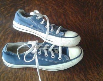 Vintage Blue Converse Allstar Sneakers, Women's 3.5. UK, U.S. approx. 6