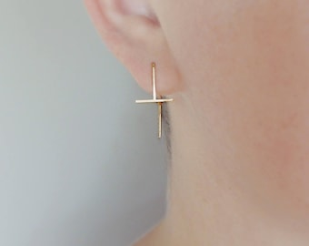 T Pin Earrings - 20 gauge Square Wire - Sterling Silver or Solid Gold