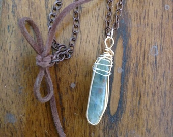 Green Kyanite and Gold Wirewrapped Necklace leather