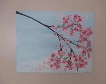 "Cherry Blossom Branch Artwork 16X20"" Original Acrylic Painting"