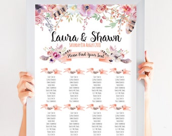 Boho Floral Wedding Table Plan, Personalized Wedding Seating Chart, Seating Arrangements, Boho Festival A2 Size