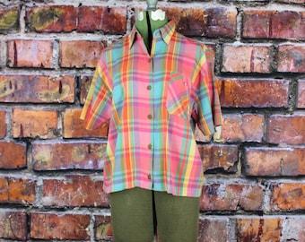 Pastel Plaid Vintage 80s Blouse
