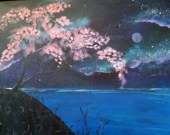 Acrylic Painting, Zen Wall Art, Cosmic Cherry Blossom Tree, Tranquil Wall Art