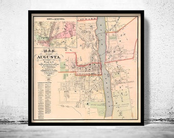 Old Map of Augusta City Maine Plan 1875