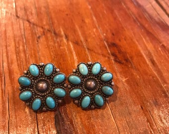 Sterling Silver Sleeping Beauty Turquoise Cluster Earrings