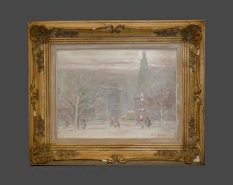 Johann Berthelsen Washington Square Park Winter Snow NYC New York City Oil on Canvas Painting Gilt Frame