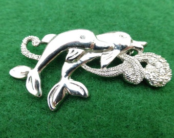 Leaping Dolphins brooch in bright silver tone and clear rhinestones AG27