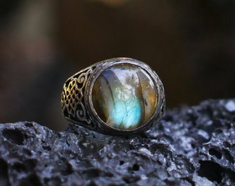 """Sterling Silver Labradorite Ring """"Kongo"""" MADE TO ORDER, mens ring, mens jewelry"""