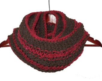 Infinity Loop Wool Scarf - Red and Brown - Warm Hand Knit Moebius
