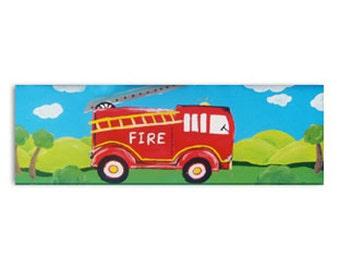 Fire Engine Painting / Fire Truck Children's Art / Canvas / Boys Nursery Decor