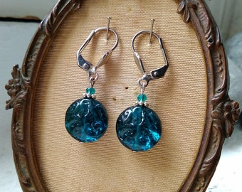 Pool blue carved glass bead earrings