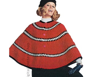 Poncho Crochet Pattern Womens Easy Striped Poncho Pattern Casual Cape DIY Instant Download PDF C178