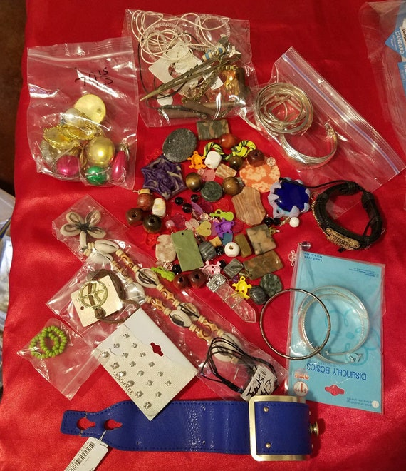 huge lot broken jewelry beads charms jewelry supplies crafts metal clay stone #lot44