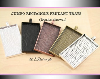 25 Blank Rectangle Pendant Trays - 1x2 Rectangle. Silver,Black, Antique Copper, Antique Bronze, Antique Silver.  Glass is sold separately.