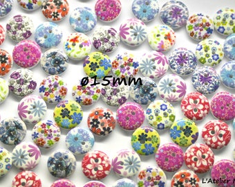 Set of 10 wooden ø15mm buttons 2 holes series floral patterns Mix