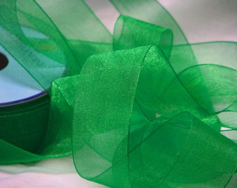 Green chiffon Ribbon by the yard