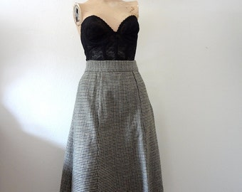 1970s Wool Skirt houndstooth gored flared a-line skirt - vintage collegiate fall fashion