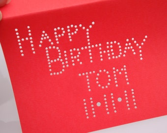 Personalized Happy Birthday Custom with Name and Date - One Premium Hand-hammered Greeting Art Card - DDOTS