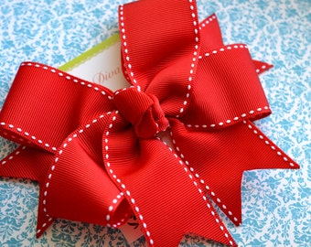 All Stitched Up...Red XL Diva Bow