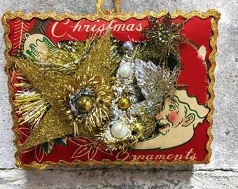Vitnage Christmas Shadow Box Diarama Decoration Ornament Box Wall Hanging