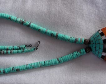 Native American Santo Domingo Spiny Oyster Shell Overaly Pendant Turquoise Necklace