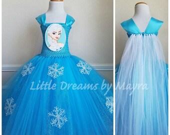 Elsa dress inspired - Queen Elsa tutu dress costume inspired - Snow Queen tutu dress size nb to 14years