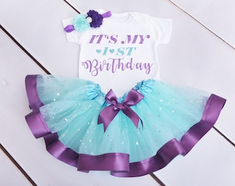 Baby Girls First 1st Birthday Outfit Tutu Skirt Set Purple and turquoise Cake Smash